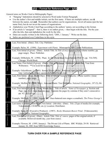 apa format for reference page apa turn over for a