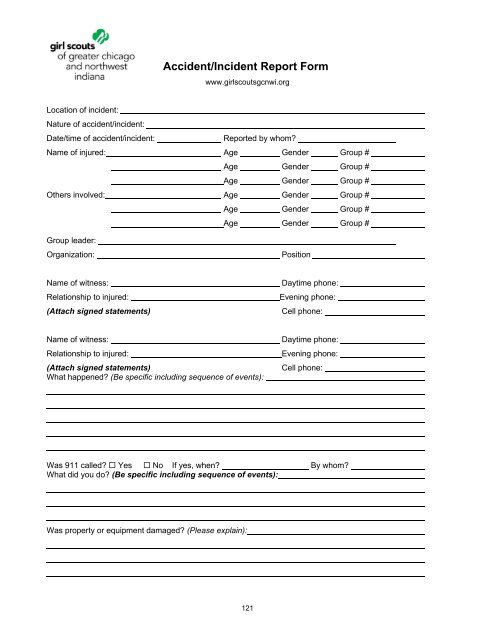 Accident/Incident Report Form - Girl Scouts