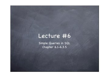 Lecture #6