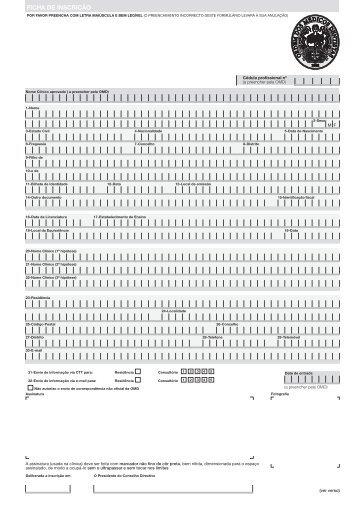 Formulário de inscrição - Ordem dos Médicos Dentistas