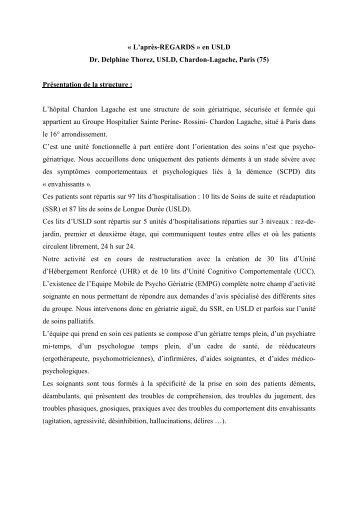 « L'après-REGARDS » en USLD Dr. Delphine Thorez ... - CNRD