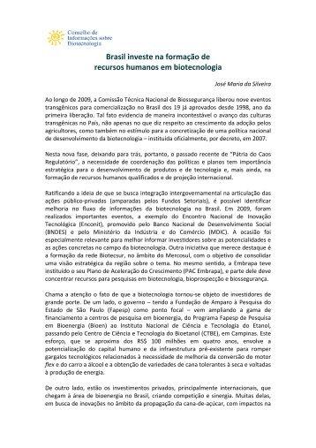 Brasil investe na formação de recursos humanos em ... - CIB