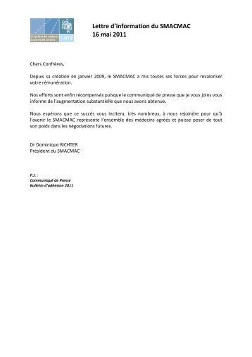 Lettre d'information du SMACMAC 16 mai 2011 - CSMF