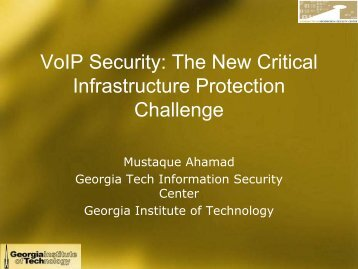 VoIP Security - Critical Infrastructure Modeling and Assessment ...