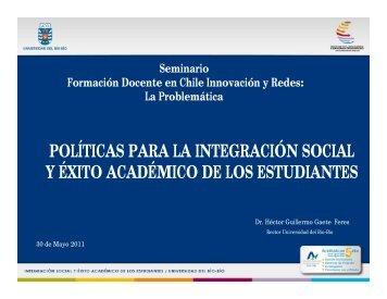 Políticas para la integración social y éxito académico