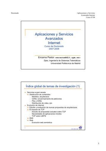 Aplicaciones y Servicios Avanzados Internet - DIT - Universidad ...