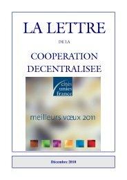 La Lettre décembre 2010 - Cités Unies France