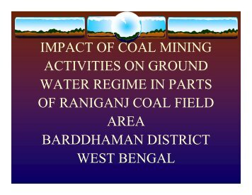 Impact of coal mining activities on ground water - Office of Fossil ...