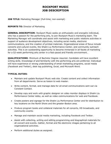 Activity Director Job Description. Job Description - Project ...