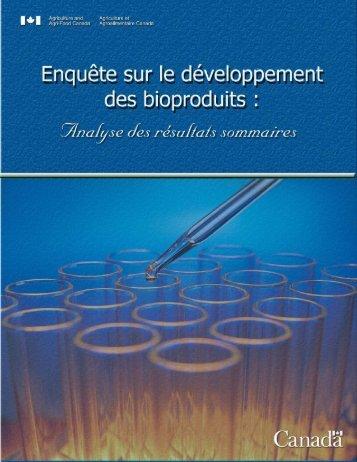 Enquête sur le développement des bioproduits - Agriculture et ...