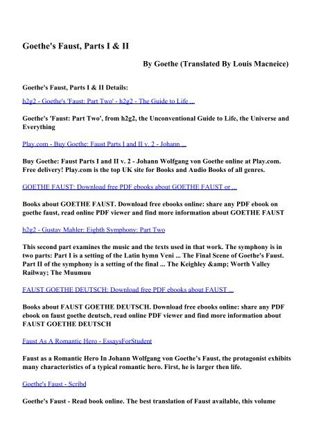 Download Goethe's Faust, Parts I & II pdf ebooks by Goethe