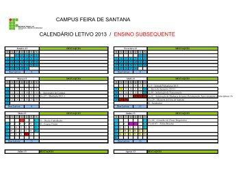 Calendário do Curso Subsequente - Feira de Santana