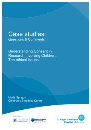 Case studies: - Murdoch Childrens Research Institute