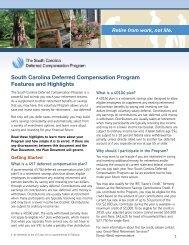 South Carolina Deferred Compensation Program Features and ...
