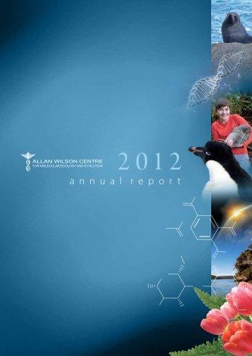 Annual Report 2012 - Allan Wilson Centre