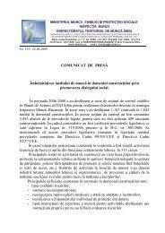 COMUNICAT DE PRESĂ Îmbunătăţirea mediului de ... - ITM Sibiu