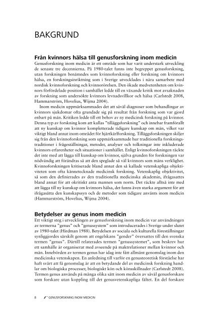 Genusforskning inom medicin - Nationella sekretariatet för ...