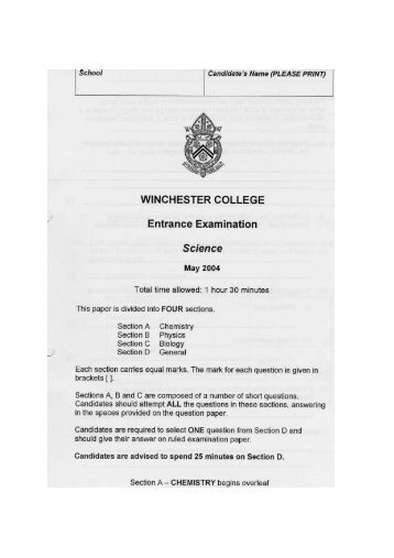 WINCHESTER COLLEGE Entrance Examination