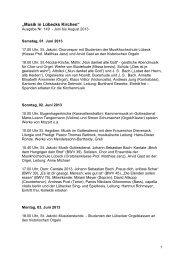 """""""Musik in Lübecks Kirchen"""" - Kirchenmusik in der Hansestadt Lübeck"""