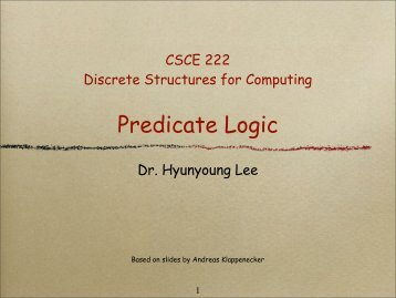 Predicate Logic - TAMU Computer Science Faculty Pages