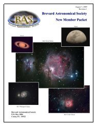 Brevard Astronomical Society New Member Packet - the Brevard ...