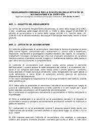 Regolamento Comunale per la disciplina delle attività di