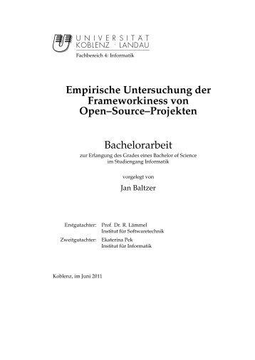 Empirische Untersuchung der Frameworkiness von Open–Source ...