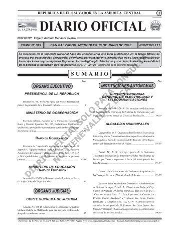 19 - Diario Oficial de la República de El Salvador