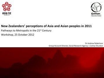 New Zealanders' perceptions of Asia and Asian peoples in 2011
