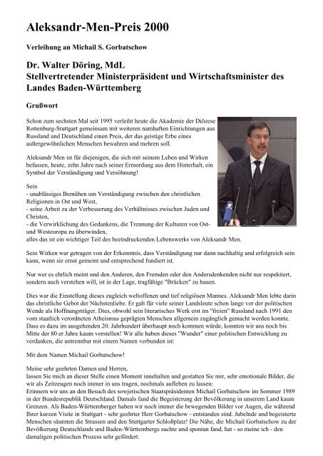 Aleksandr-Men-Preis 2000 - Akademie der Diözese Rottenburg ...