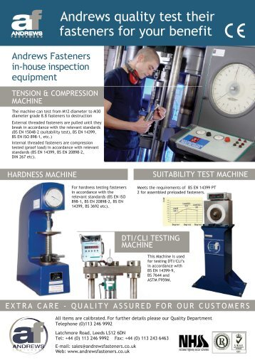 Andrews Fasteners In-house Inspection & Testing Equipment Guide