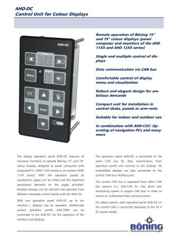 AHD-DC Control Unit for Colour Displays