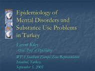 epidemiology of mental health and substance use problems in Turkey