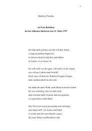 1.13 An Frau Rebekka; bei der silbernen Hochzeit, den 15. März ...