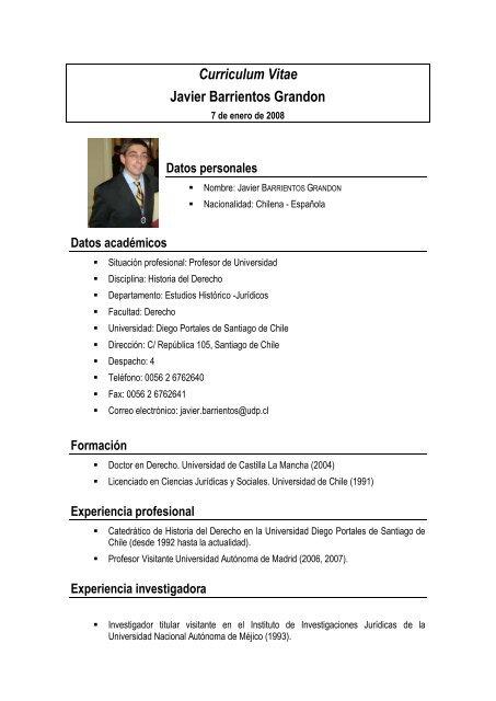 Curriculum Vitae Javier Barrientos Grandon Hicoes