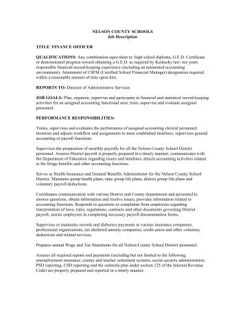 Job Description   Transportation Supervisor   Nelson County School