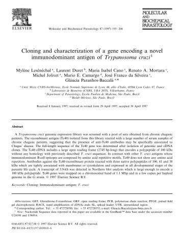 Cloning and characterization of a gene encoding - Escola Paulista ...