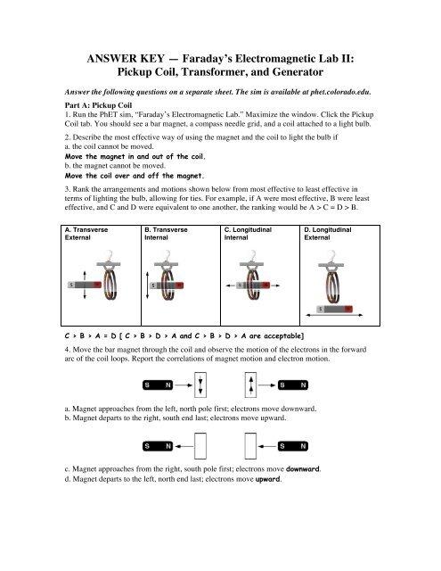 ANSWER KEY — Faraday's Electromagnetic Lab II: Pickup     - PhET