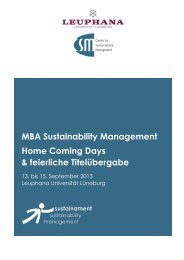 Home Coming Days 2013 - MBA Sustainability Management | CSM