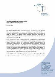 Grundlagen zur Zertifizierung von Gesundheitseinrichtungen