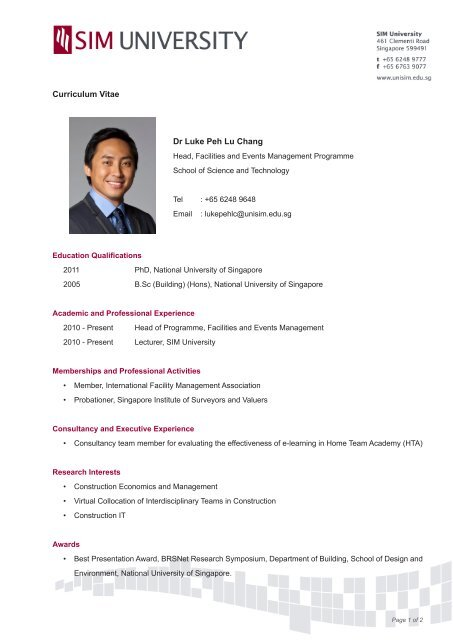 Dr Luke Peh Lu Chang Curriculum Vitae Sim University