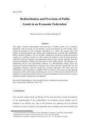 Redistribution and Provision of Public Goods in an Economic ...
