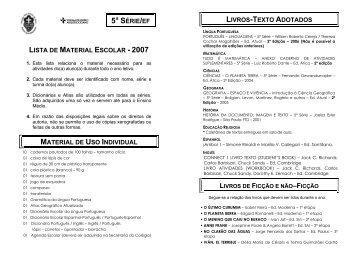 lista de material escolar - 2007 material de uso individual 5ª série/ef ...