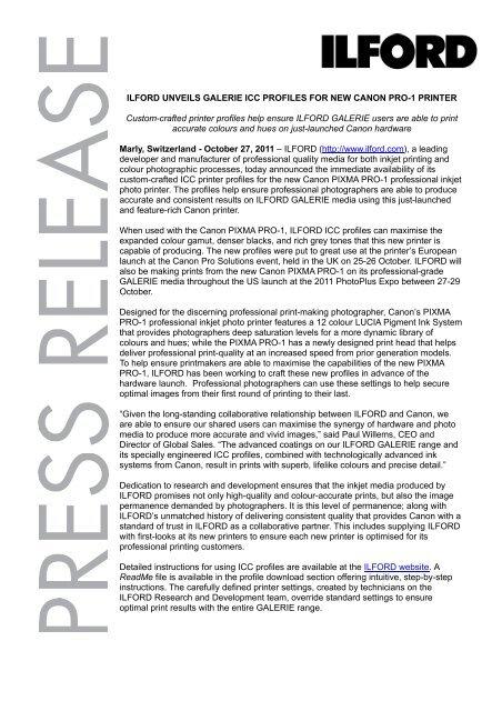 ILFORD unveils GALERIE ICC profiles for new Canon PIXMA PRO