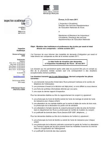 INEAT EXEAT RENTREE 2011 - Lettre d'informations