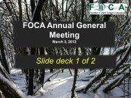 FOCA A.G.M. Slide Presentation - part 1 of 2