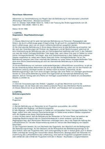 Warschauer Abkommen Abkommen zur Vereinheitlichung von ...