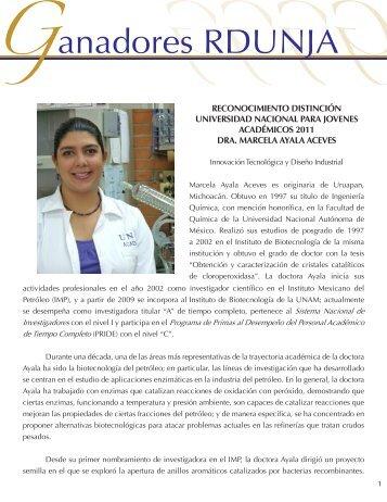 Dra. Marcela Ayala Aceves - dgapa unam - Universidad Nacional ...