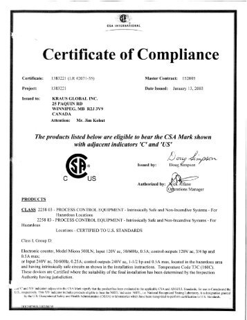 Certificate of compliance sierra instruments csa certificate of compliance micon 500c kraus global thecheapjerseys Image collections