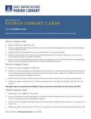 PATRON LIBRARY CARDS - East Baton Rouge Parish Library